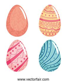 happy easter season card with set of four eggs