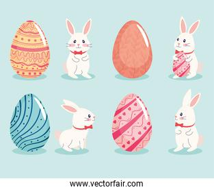 happy easter season card with set of four eggs and rabbits