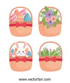 happy easter season card with set baskets with flowers and eggs