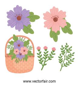 bundle of flowers spring and basket decoration