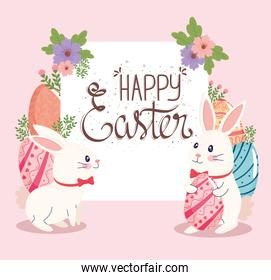 happy easter lettering card with