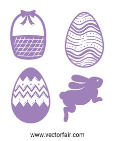 happy easter season card with lilac color set icons