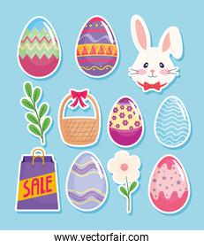 happy easter season card with eggs painted and set icons