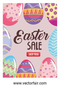 happy easter season sale poster with lettering and eggs painted