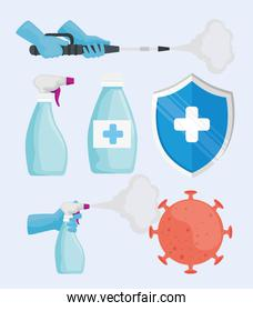 bundle of six disinfectant for covid19 set icons