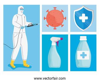 bundle of five disinfectant for covid19 set icons