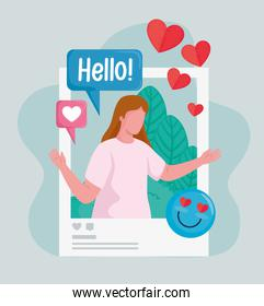 picture woman with hearts and emoji social media icons
