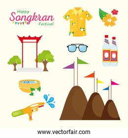 happy songkran festival lettering with set icons