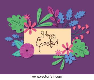 happy easter lettering with leafs and flowers in square frame