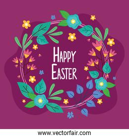 happy easter lettering with floral circular frame