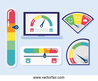 bundle of five customer satisfaction set icons and tablet