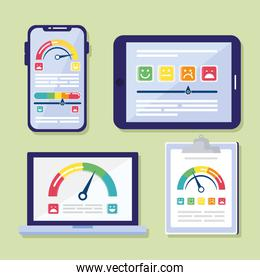 bundle of customer satisfaction set icons in checklist and electronics devices