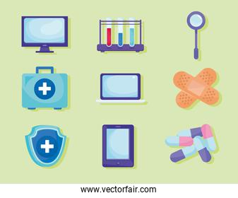 collection of telemedicine set icons