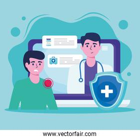 doctor in laptop with patient and shield