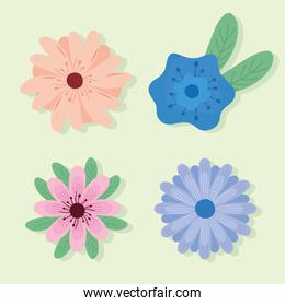 bundle of four flowers spring set icons