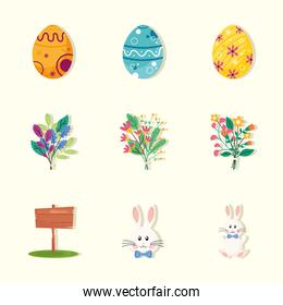 bundle of nine happy easter set icons