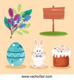 bundle of five happy easter set icons