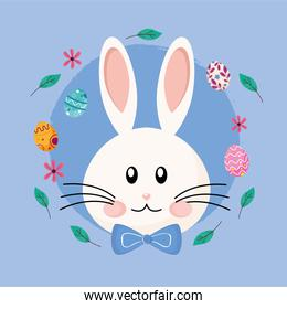 cute easter rabbit with bowtie head character and eggs painted around