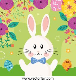 cute easter rabbit with bowtie character and flowers frame
