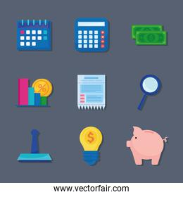 bundle of nine tax day set icons in gray background