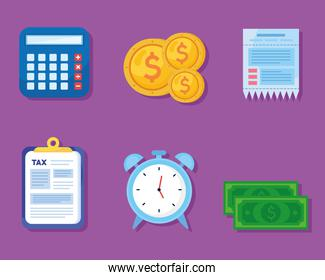 bundle of six tax day set icons in purple background