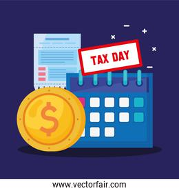 tax day lettering in calendar withy receipt and coin money