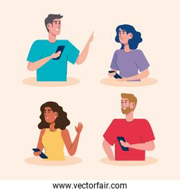persons community using smartphones characters
