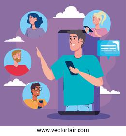 man in smartphone and community social media