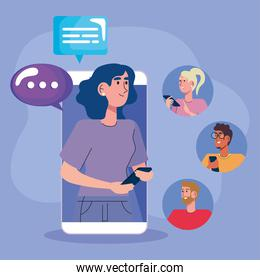 woman in smartphone with community and speech bubbles