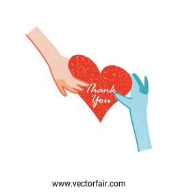 thanks you, hands medical and patient with heart