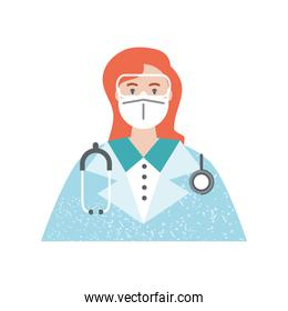 portrait cartoon staff medical with protective mask and stethoscope