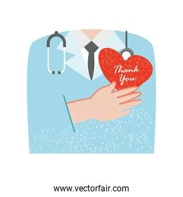 thanks you in heart lettering medical and stethoscope