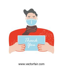 character with face mask holds thanks you banner