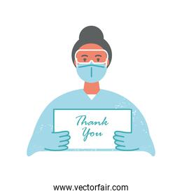 female doctor with mask suit protection and thanks you