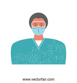 doctor or nurse in medical protective suit glasses mask