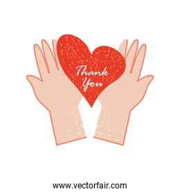 hands with thanks you lettering in heart