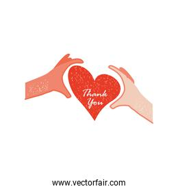 hands with heart and thanks you hand drawn text