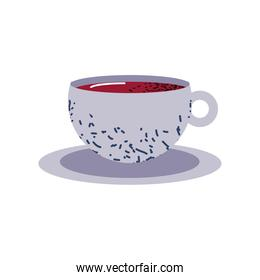 coffee cup beverage on dish icon flat vector