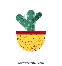cactus in pot plant decoration icon flat vector