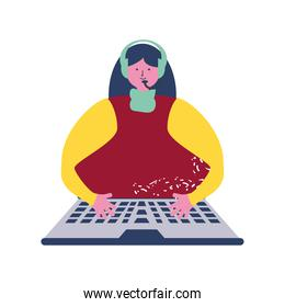 video conference woman with headphones typing on keyboard