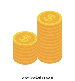 stack of coins money cash currency icon isometric style