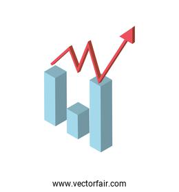 financial business statistics diagram bar with arrow icon isometric style