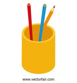 pencils color in cup supplies icon isometric style