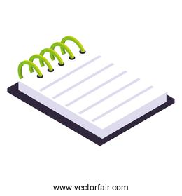 notepad with spiral office supply icon isometric style