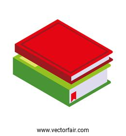 stack of book learning icon isometric style