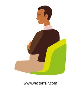 young man with crossed arms sitting on chair isolated design