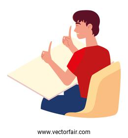 happy young man sitting on chair isolated design