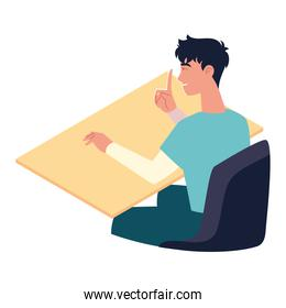 man sits at a table in office isolated design