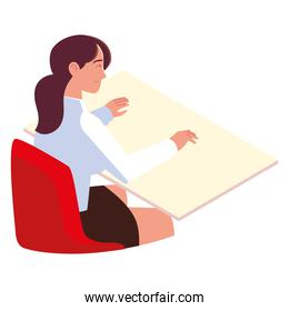 young woman sitting at desk working isolated design