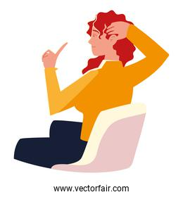 young woman sitting on chair isolated design